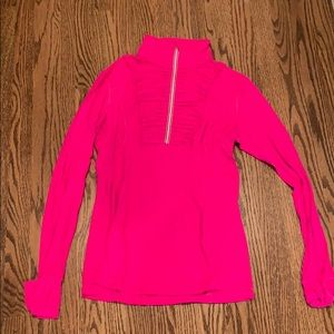 Hot pink lululemon 1/2 zip with ruffle